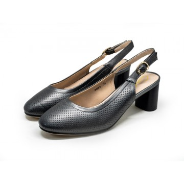 9033 Barani Classic Leather Heeled Sandals (Mid, Perforated)